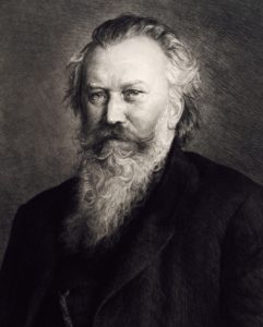 Portrait of Johannes Brahms (Hamburg, 1833-Vienna, 1897), German conductor and composer, Engraving